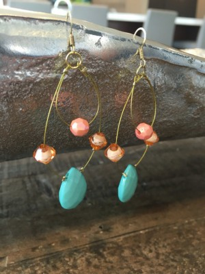 Peach & Turquoise Earrings