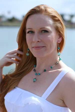 Beautiful Teal Crystal Necklace and Earring Set Recycled Materials