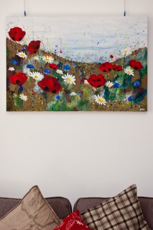 Poppy Meadow original painting large canvas
