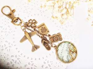 Vintage Map Planner Charm, A Gift for Him or Her, Bag Dangle
