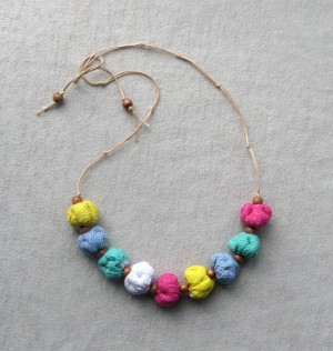 Multicolored bead necklace fabric Boho