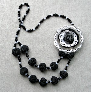 Flower bead necklace Black White broach textile rose Lace denim jeans Boho beaded necklace