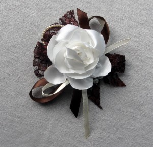 White Rose textile broach Handcrafted Flower brooch