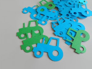 100 Tractor Paper Shapes, Blue and Green Confetti, Tractor Party decor, Boy's Party Decorations, Tractor Table Confetti , Paper Supplies