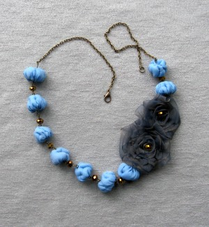 Blue flower beaded necklace Grey roses statement bead necklace