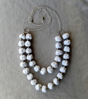 White bead necklace boho fabric Chain silver metal beads
