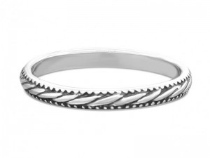 Sterling silver stacking ring textured with geometric patterns