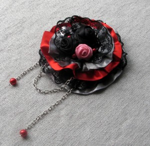 Rose Brooch Fabric Black Pink flower Boho