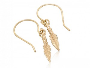 Solid gold feather dangle earrings, small feather chic boho earrings