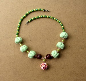 Green bead necklace Boho textile beads