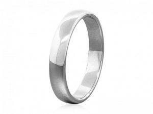 Solid gold half-round wedding band, 4mm wide simple classic wedding ring