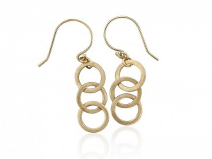 14k solid gold open circles dangle earrings