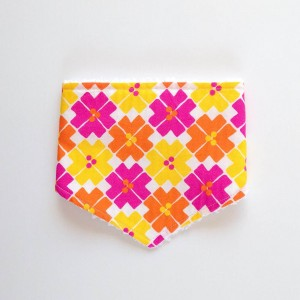 Bright retro flowers baby bandana bib