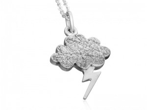 Sterling silver cloud and lightning bolt thunderstorm necklace