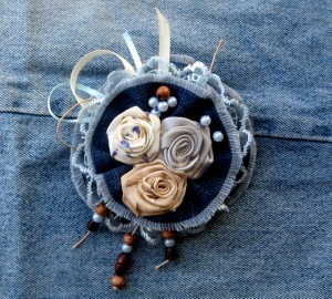 Roses broach Flower brooch Rose Blue jeans Boho