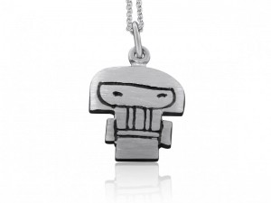 Sterling silver Kokeshi doll necklace