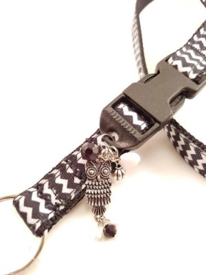 Black & White Chevron Charmed Owl Lanyard