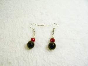 Red, White and Black Drop Earrings