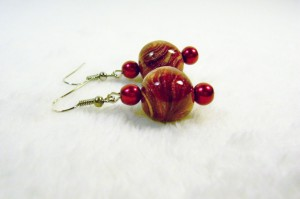 Crimson and Gold Drop Earrings