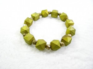 Olive Green and Gold Faceted Hexagon Stretch Bracelet