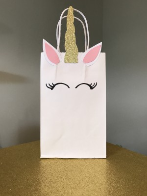 Handmade unicorn party favor bags