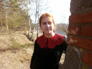 Detachable red COLLAR, crochet lace Collar, Peter Pan collar