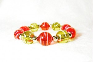 Red, Olive and Silver Chunky Stretch Bracelet