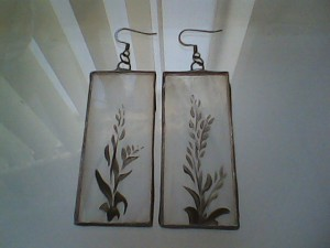 Hand Painted Stained Glass Earrings, Kiln fired!