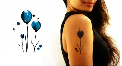 Temporary-Tattoo-Watercolor-Blue-Tulips-Model