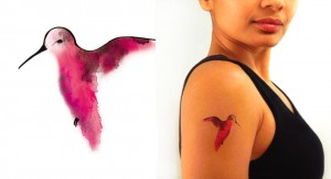 Temporary Tattoo Watercolor Hummingbird