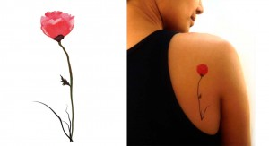 Temporary Tattoo Watercolor Poppy