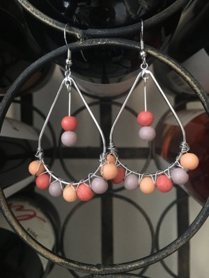 Purple, Coral & Silver Tear Drop Hoop Earrings