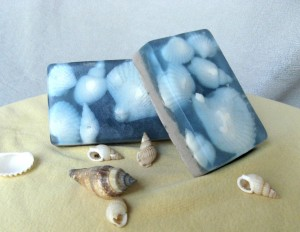 Seashell soap bar with blue white clay scented lavender best gift for her