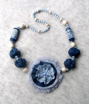 Blue jeans Beaded necklace boho fabric with denim handcrafted flower