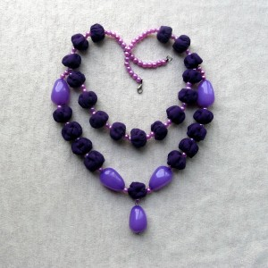 Purple beaded necklace lilac textile bead necklace Violet beads