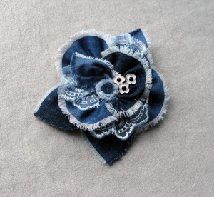 Blue boho jeans flower large brooch