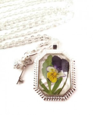 Pressed Johnny Jump Up Long Silver Flower Necklace