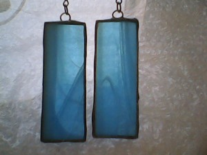 Stunning Blue Stained Glass Earrings, Tiffany style.