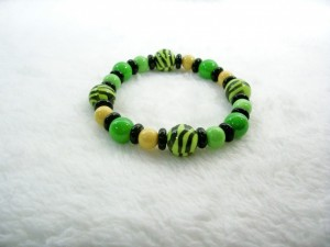 Green, Black and Yellow Stretch Bracelet