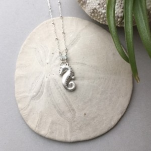 Mini Seahorse, Silver Seahorse Pendant, Dainty Sea Animal Jewelry, Ocean Beach Jewelry, Nautical Gift Ideas, Spirit Animal Totem Necklace