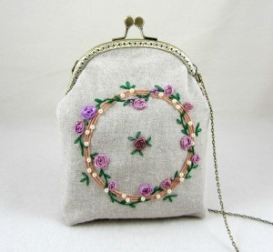 Hand embroidered purse