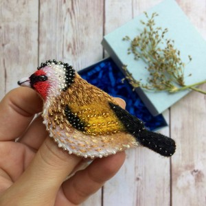 Felted embroidered brooch Goldfinch