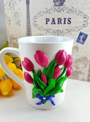 Polymer Clay Tulips Bouquet Coffee Mug
