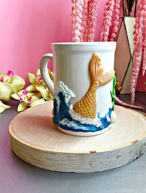 Mermaid Tale Coffee Mug Polymer Clay