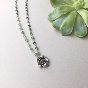 Succulent Pendant, Silver Floral Necklace, Dainty Botanical Jewelry, Silver Rose Charm, Green Chrysoprase Beaded Necklace, Plant Lover Gifts