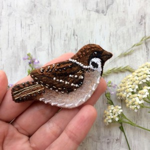 Embroidered sparrow brooch