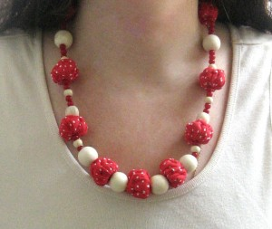 Red White bead necklace boho Polka dots textile Long necklaces wooden beads fabric