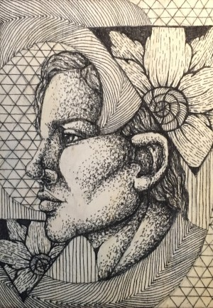 Portrait Illustration of a Woman with Flowers
