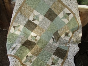 Modern Rustic Country Throw Quilt, Muted Neutral Greens and Beige Florals