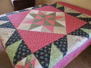 Pink and Green Star Quilt for Queen Bed, with custom quilting